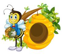 A beehive beside the bee - stock illustration