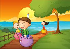 Happy kids playing with the bouncing balls - stock illustration