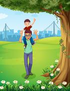 A father carrying his son near the tree across the buildings Stock Illustration