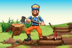 A lumberjack chopping woods - stock illustration