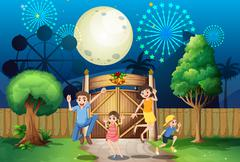 A happy family near the gate Stock Illustration