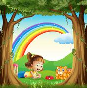 A girl and her pet at the forest with a rainbow in the sky Piirros