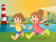 Stock Illustration of Two adorable kids running with butterflies