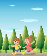 Two cute kids running at the road Stock Illustration