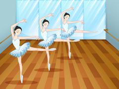 Three ballet dancers inside the studio - stock illustration