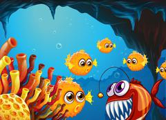 A group of puffer fishes and a scary piranha inside the cave - stock illustration