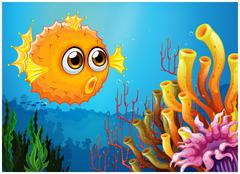 A puffer fish near the coral reefs - stock illustration