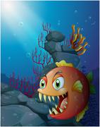 Scary piranha under the sea near the rocks Stock Illustration
