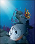Stock Illustration of A scary piranha near the rocks