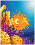An orange puffer fish near the coral reefs - stock illustration