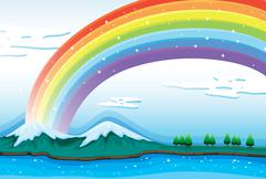 A beautiful rainbow in the sky Stock Illustration