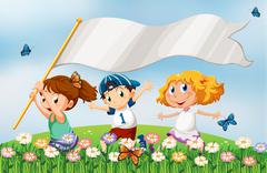 Three kids at the hilltop running with an empty banner - stock illustration
