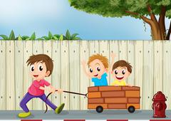 Three boys playing near the wooden wall - stock illustration