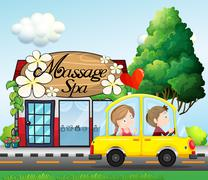 Stock Illustration of A couple riding in a car near the massage spa