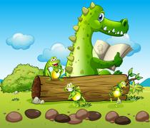 A crocodile and the three playful frogs Stock Illustration