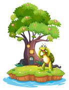 An island with a big tree and a turtle - stock illustration