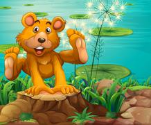 Stock Illustration of A playful bear above the stump