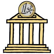 Stock Illustration of Euro coin and stock exchange piggybank