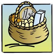 Basket full of groceries and euro coin Stock Illustration