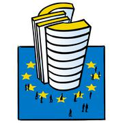 Skyscraper in shape of Euro symbol - stock illustration