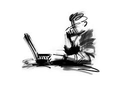 Person using laptop - stock illustration