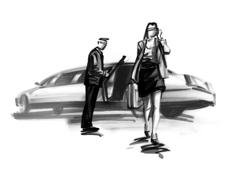 Woman walking away from limousine Piirros