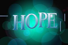 hope word on vintage bokeh background, concept sign - stock illustration