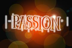 Stock Illustration of passion word on vintage bokeh background, concept sign