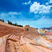 cartagena roman amphitheater in murcia spain - stock photo