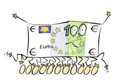 Euro bill walking on eggs Stock Illustration