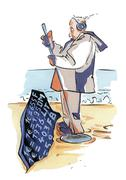 Man with metal detector and euro exchange rate - stock illustration