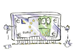 Stock Illustration of Frozen euro bill