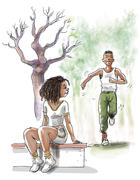 Stock Illustration of Couple exercising in park