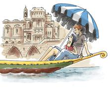 Stock Illustration of Couple in gondola