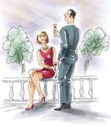 Couple drinking wine on terrace Stock Illustration