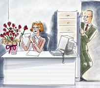 Woman at desk looking at roses, man watching in doorway Stock Illustration