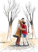 Man and woman embracing, standing on path in winter Stock Illustration