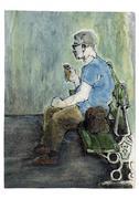Man sitting on park bench eating ice cream cone - stock illustration