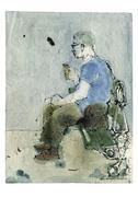 Man eating ice cream cone on park bench - stock illustration