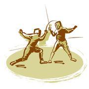 Fencers Stock Illustration