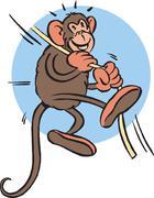 Monkey hanging on rope Stock Illustration