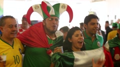A Group of Mexican people before the game of Mexico team, World Cup - stock footage