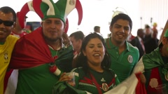 A Group of Mexican people before the game of Mexico team, the World Cup - stock footage