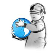 Blindfolded child holding globe - stock illustration