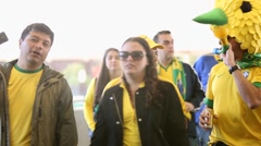 Fans go to Arena Sao Paulo to watch a Brazilian Game for the World Cup Stock Footage