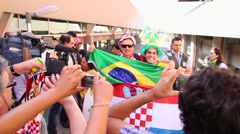 A good time between some fans before the game of Brazil team, the World Cup Stock Footage