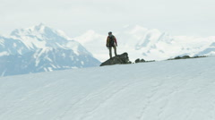 Troublesome Glacier Male Climber Aerial Extreme Terrain Snow Fitness 4K RED EPIC Stock Footage