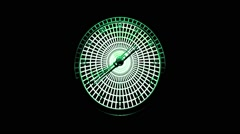 Stock Video Footage of Clock 3D Animation Green White In Black Background Vj Loop