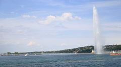 Geneva Jet d'Eau - The Geneva Water Fountain Stock Footage