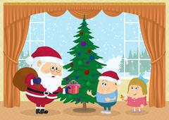 Santa claus giving presents Stock Illustration